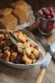 Cranberry Cornbread Stuffing with Smoked Oysters and Sausage