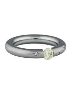 Steven Kretchmer Yellow Diamond Tension Set Platinum Ring