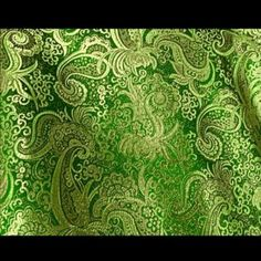 "Amazon.com: Green/gold Paisley Metallic Brocade Fabric 45"" Per Yard: Arts, Crafts & Sewing"