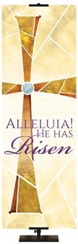 Alleluia! He Has Risen Banner From PraiseBanners.com Eternal Emblems of Easter Banner Series. Available with stock phrases or as a custom banner.