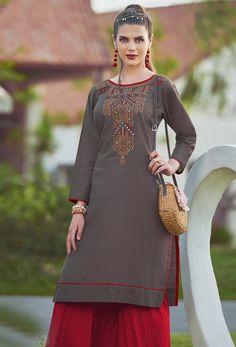 9a557ad3f2 Readymade Brown Khadi Cotton Casual Kurti #kurti #ladiestops #cottonkurti  #kurtionline #longkurti. Nikvik