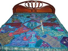 Indian Bedding Bedspread: Hand Embroidered Indian Bedspreads