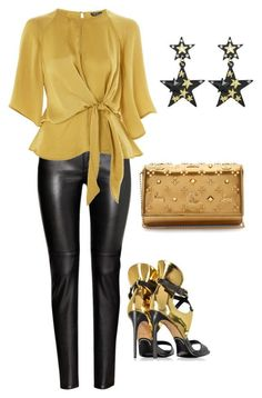 """Leather and gold"" by ktjlmom on Polyvore featuring Christian Louboutin, Topshop and Balmain"