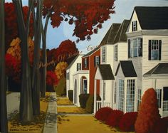 Original Painting Folk Art Landscape Oak Autumn Neighborhood Street Road Houses | eBay