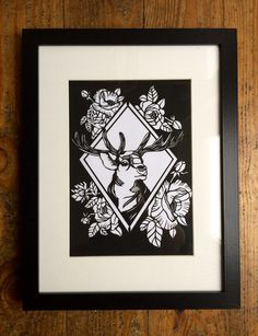 Bruno the Stag with Peonies tattoo style by LouiseDyerPaperlace