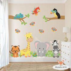 vinilos decorativos infantiles arboles animales aib 11 al 20 Baby Bedroom, Baby Boy Rooms, Kids Bedroom, Playroom Decor, Boys Room Decor, Kids Room Murals, Nursery Wall Decals, Nursery Room, Wall Stickers For Baby Room