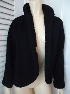 VINTAGE GLENHAVEN Coat Wrap M Black Wool Textured Boucle Lined Retro 60s  #VINTAGEGLENHAVEN #CoatWrapBlazer