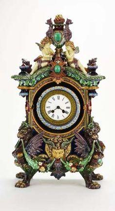 Magnificent Hugo Lonitz Majolica Clock Magnificent Hugo Lonitz Majolica Renaissance Revival Clock, c. Hugo Lonitz Majolica Renaissance Revival Clock, c. Unusual Clocks, Cool Clocks, Antique Clocks, Vintage Clocks, Classic Clocks, Wall Clock Online, Painting Lamps, Mantel Clocks, Grandfather Clock