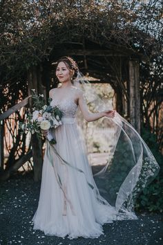 Bride In Bronze Watters Gown And Painted Floral Veil By BHLDN Venue | Union Hill Inn California With Images By Matt Horan Photography