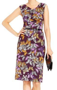 Ellen Tracy NEW Purple Butterfly Print Women's 8 Scuba Sheath Dress $128
