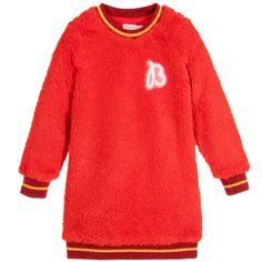 Billieblush Girls Red Fleece Sweater Dress at Childrensalon.com