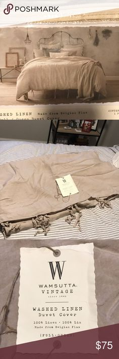 Wamsutta Washed Linen Duvet Cover Beautiful vintage looking duvet for that modern industrial look. Looks great with a iron framed bed! Loved it, just don't have the patience for duvets and the down comforter moving! Barely used and machine washable! Wamsutta Other