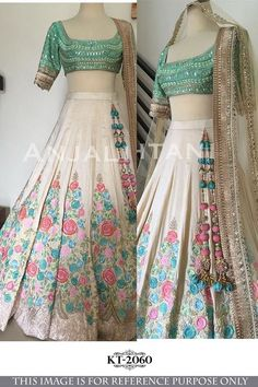 DESIGNER Traditional Lehenga Choli Bollywood Indian Wedding Party Wear for sale online Floral Lehenga, Lehenga Blouse, Silk Lehenga, Blue Lehenga, Anarkali Dress, Indian Attire, Indian Wear, Indian Style, Indian Dresses