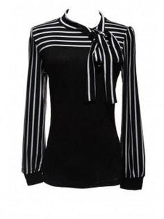 Zanzea Lantern Sleeve Striped Blouse