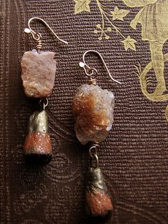 raw sunstone earrings  ceramic drops  primitive  by sparrowsalvage, $68.00