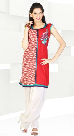 Effective Coral Red Color Cotton Kurti