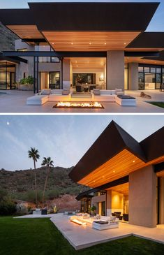 Central to the large patio of this modern house, is an outdoor living room that takes advantage of a built-in fire pit. Casual Living Rooms, Outdoor Living Rooms, Living Spaces, Outdoor Lounge, Outdoor Areas, Patio Grande, Home By, Paradise Valley, Modern House Design