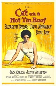 ThanksGata em Teto de Zinco Quente (1958)   Cat on a Hot Tin Roof (original title)  Director: Richard Brooks  Stars: Elizabeth Taylor and Paul Newman awesome pin