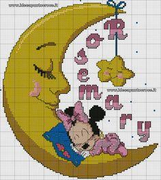 schema baby minnie sulla luna punto croce