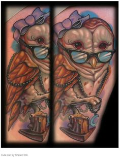 Cute color owl tattoo with glasses by Shawn Will.