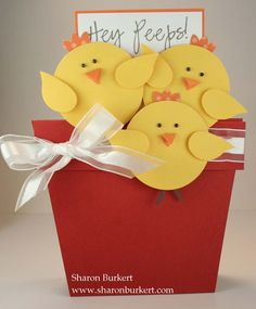 Easter Stand up flower pot - Aren't the chicks adorable? There is a video tutorial on this website as well.Sharon Burkert is brilliant! Easter Projects, Easter Crafts, Punch Art Cards, Paper Punch, Diy Ostern, Kids Cards, Creative Cards, Scrapbook Cards, Homemade Cards
