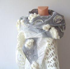 Nuno felted scarf white grey lace by galafilc on Etsy, $112.00