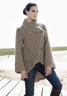 Lana Grossa Crochet Jacket - Free Crochet Pattern - (lanagrossa) ༺✿ƬⱤღ https://www.pinterest.com/teretegui/✿༻