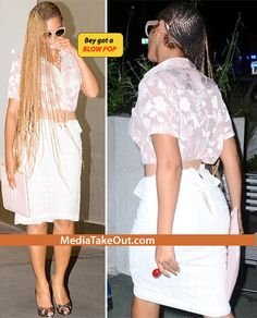 OLD SCHOOL BEY!! Beyonce Is Taking IT BACK With Her New Look . . . She Rockin' BRAIDS And SUCKIN' ON A BLOW POP!!!