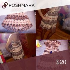 NWT strapless Aztec dress! Brand new with tags never worn! Size small pink red  white Aztec design with tie back closure exactly as shown in photos super cute dress! Forever 21 Dresses