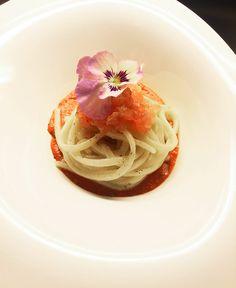 Ricetta Spaghetti Aglio e Olio Con RIcciola Cruda e Fonduta di Pomodori