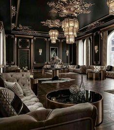 Black And Gold Living Room, Teal Living Rooms, Living Room Designs, Black Rooms, Design Jobs, Design Ideas, Art Deco Stil, Art Deco Room, Mansion Interior
