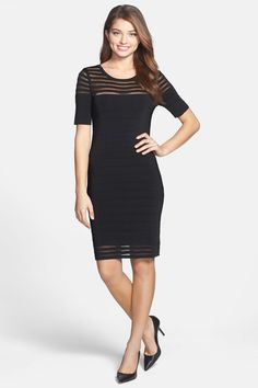 Vince Camuto | Vince Camuto Shadow Stripe Grid Stitch Sweater Dress | Nordstrom Rack
