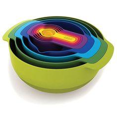 Joseph Joseph Nest 9 Plus, 9-Piece Compact Mixing Bowl, Food Prep, and Measuring Set, Green (Plastic)