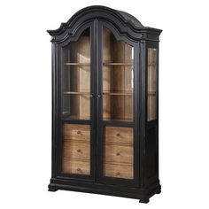 Pairing an arched top with 2 glass doors, this classic cabinet brings country-chic appeal home. 3 drawers and adjustable shelves add a variety of storage opt...