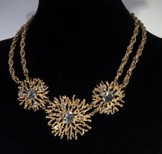 Vintage Kenneth J Lane Avon Regal Riches Abstract Gold Plated Crystal Necklace *