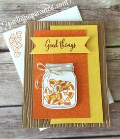 handmade greeting card: Candy Corn envie ... jar full of candies ... yellow, orange and kraft ....