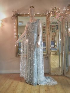 moon and star embroidered blue wedding dress by Joanne Fleming Design Blue Wedding Dresses, Prom Dresses, Pretty Outfits, Pretty Dresses, Starry Wedding, Moon Wedding, Fantasy Magic, Fantasy Dress, Fashion Week