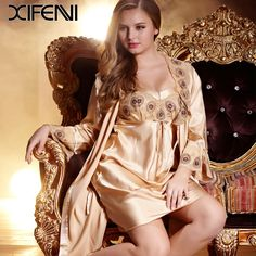 Find More Robe & Gown Sets Information about 2016 Brand Spring Women Nightgown Embroidert Lace  Silk Robe sets Full Sleeve Twinset Sleepwear,High Quality robe kimono,China robe fabric Suppliers, Cheap robes nightgowns from YOUPINIAO on Aliexpress.com