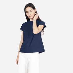 Elevated finishing touches and premium fabric separate this tee from the rest. This mercerized cotton fabric has a sleek and refined finish with a subtle luster. The tee features an A-line silhouette, clean bonded hem, and a high crew collar.