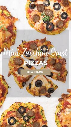 Mar 2020 - A fun zucchini pizza crust recipe, to give your pizza night a healthy twist. These low carb zucchini pizza crusts are delicious topped with sausage, olives, or any of your favorite toppings! Healthy Pizza Recipes, Paleo Pizza, Low Carb Chicken Recipes, Delicious Dinner Recipes, Gluten Free Recipes, Keto Recipes, Best Cauliflower Pizza Crust, Sweet Potato Pizza Crust, Zucchini Pizza Crust