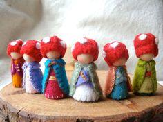 Adorable mushroom cap gnomes