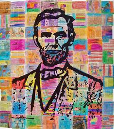 Step-by-step tutorial: Candice Ashment art: *Reduce *Reuse *Recycle - NEWSPAPER Abe {tutorial} Auction piece.but portrait of Edgar Allen Poe or outline of school? Class Art Projects, Auction Projects, Art Auction, Auction Ideas, Newspaper Collage, Recycle Newspaper, Newspaper Canvas, Recycling, Recycled Art Projects