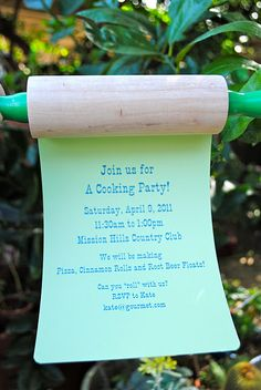 Kids cooking party - rolling pin invites!