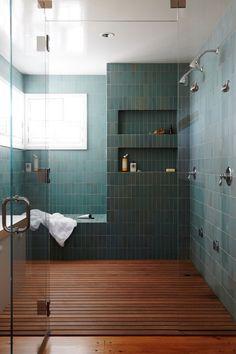 Bathroom Design modern green tile and wood slat floor in large master bathroom shower Beach House Tour, Beach Houses, Bathroom Trends, Bathroom Interior, Bathroom Ideas, Bathroom Renovations, Bathroom Organization, Kitchen Interior, Organization Ideas