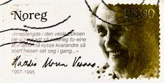 beautiful stamp Noreg Norge 23.00 Kr. portrait Halldis Moren Vesaas, writer (1907-1995) My Stamp, Postage Stamps, Envelopes, Close Up, Famous People, Countries, Postcards, Writer, Lettering