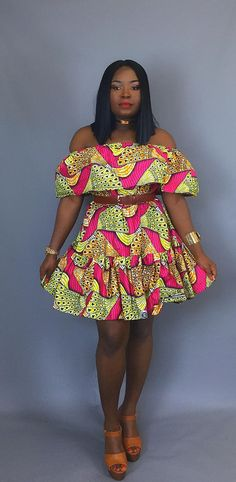 African print off shoulder dressAfrican clothingAfrican