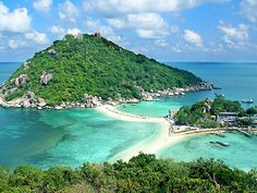 Ko Nang Yuan. This is off the coast of Ko Tao in Thailand. It's absolutely gorgeous. The water is phenomenal and the beach is like sugar