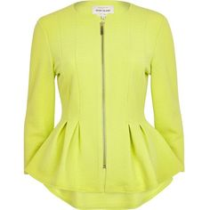 River Island Lime textured jersey peplum jacket ($12) ❤ liked on Polyvore featuring outerwear, jackets, sale, collarless jacket, zipper jacket, river island jacket, lime green jacket and textured jacket