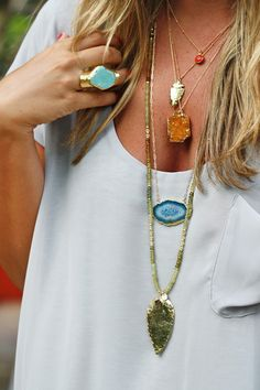 Love the layered necklaces, so pretty.