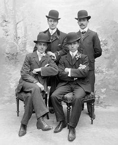 Four handsome Irish men wearing bowler hats. Circa 1910.